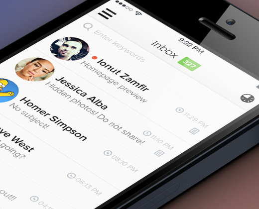 flat iphone app inbox email ui