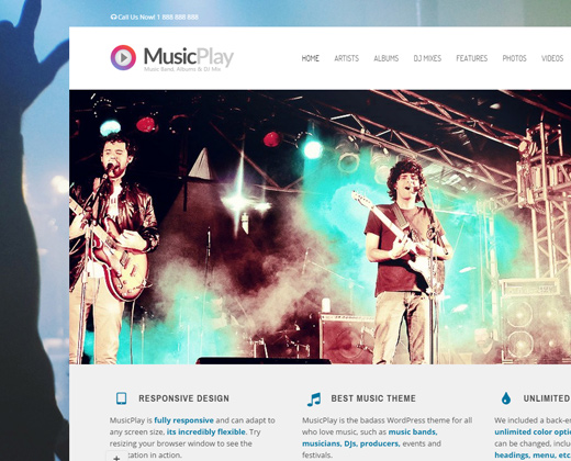 musicplay dj musician responsive wordpress theme