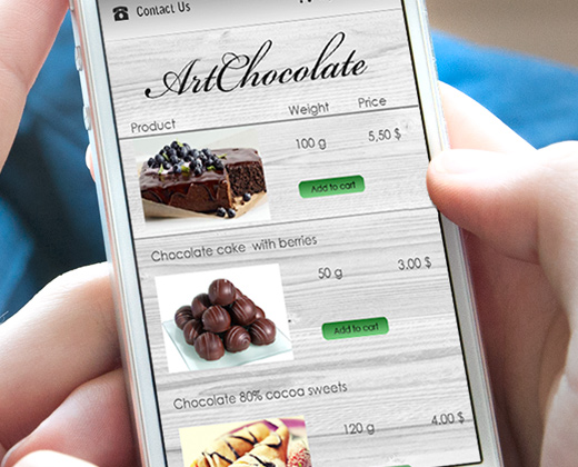 iphone app ui pastry shop