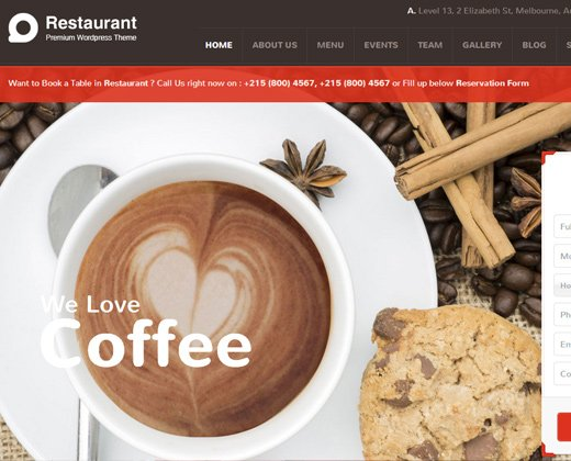 restaurant responsive red wordpress premium theme
