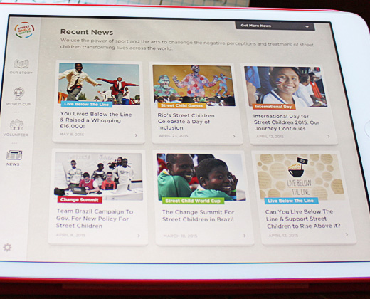 street child united ipad app ui
