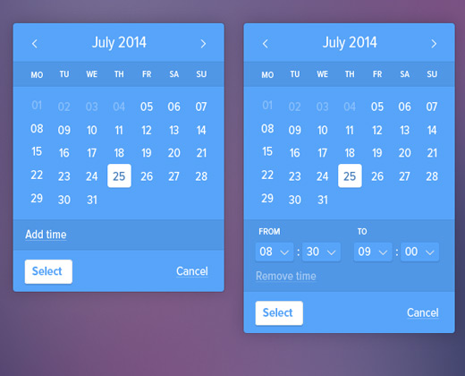 blue calendar design ui