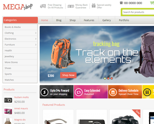 mega shop ecommerce responsive wordpress theme