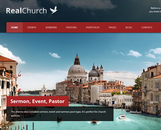real church responsive retina support wordpress theme