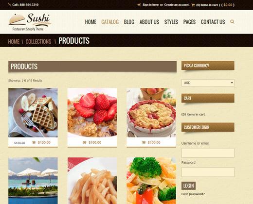 sushi food restaurant shopify premium theme