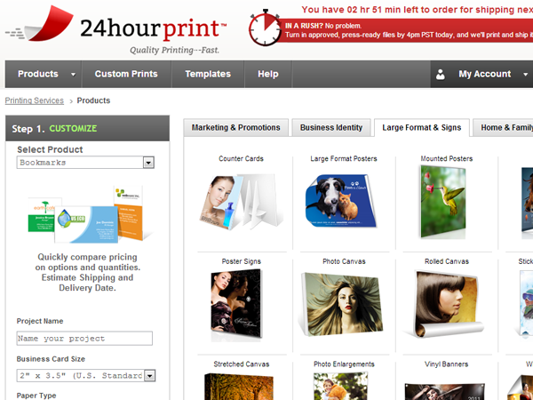 24 hour print printing services online internet shipping