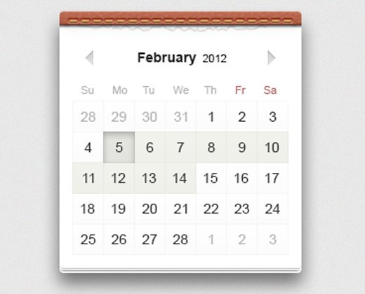 textured calendar ui design