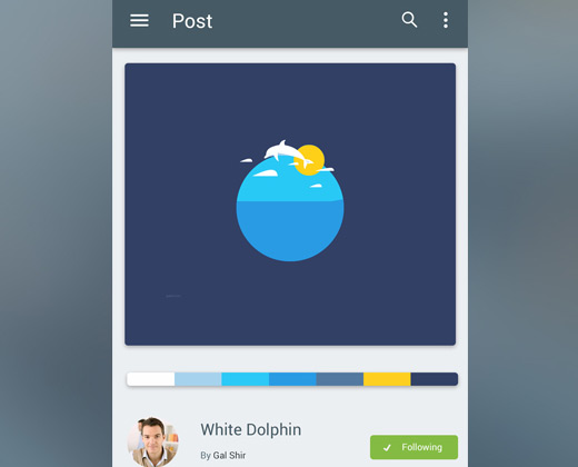 single post material app design ui