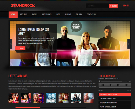 soundrock music band wordpress theme