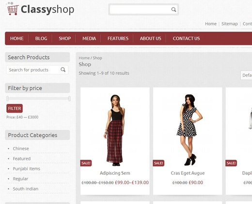 classy shop ecommerce advanced wordpress theme