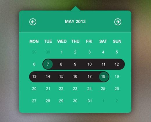 green tooltip calendar date picker