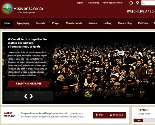 heaven corner church premium theme design