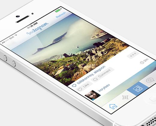 ios7 flat white instagram app ui