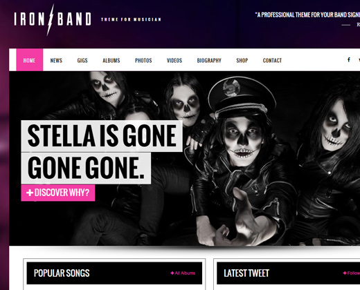 ironband dj wordpress theme musical design