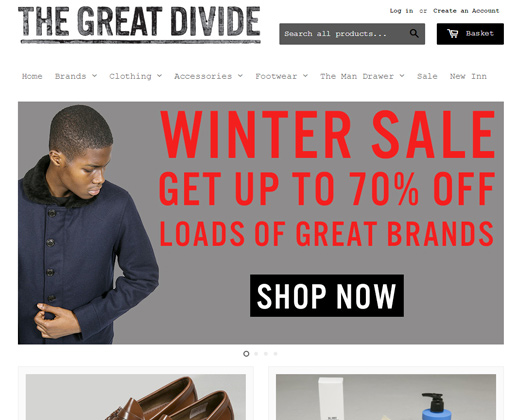 the great divide shopify simple website