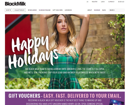 black milk clothing shopify homepage website