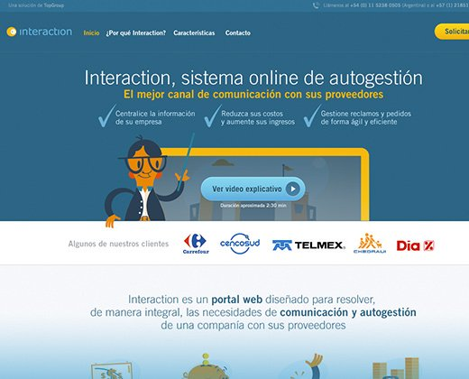 blue landing page interaction layout
