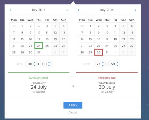 light date picker interface