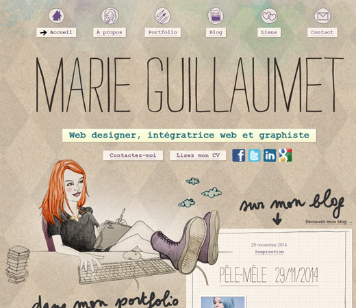 marie guillaumet website personal design