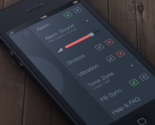 tick tock clock settings dark app ui