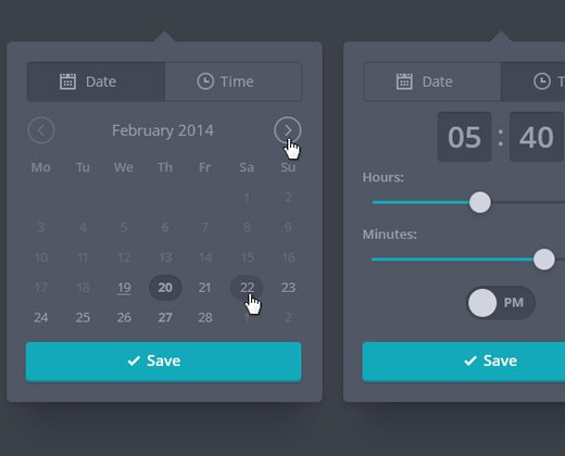 dark date time picker ui