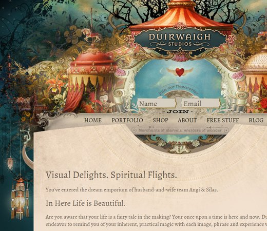 duirwaigh studios website layout design fancy graphics