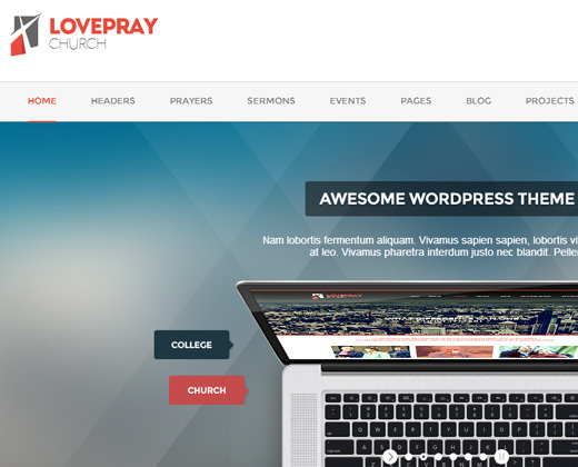 love pray wordpress premium church theme