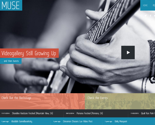responsive music band wordpress theme muse
