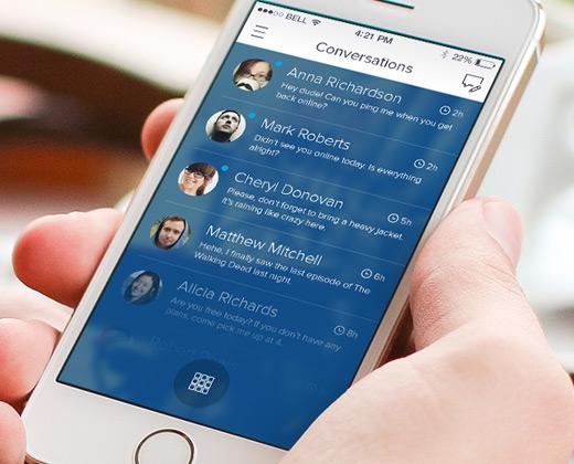 blue iphone app ui convos