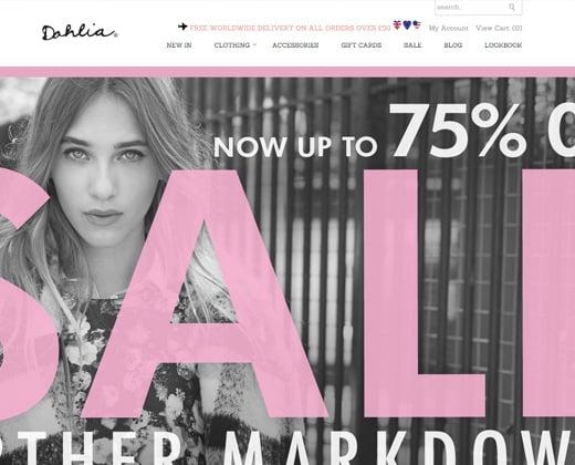 dahlia clothing store shopify website