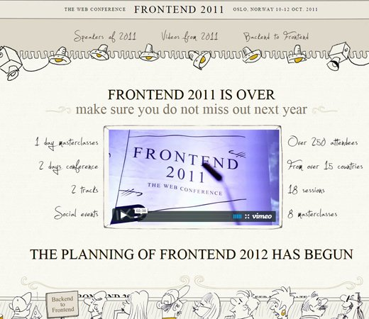 frontend 2011 website layout homepage design