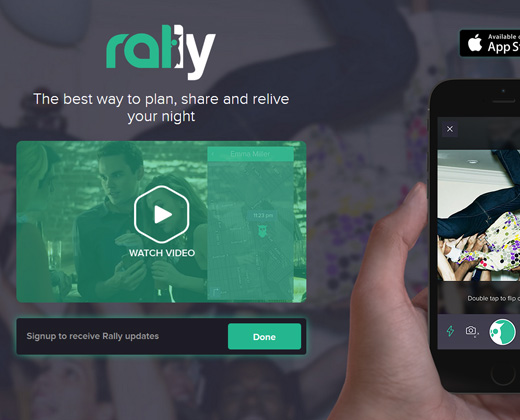 rally fullscren background homepage design