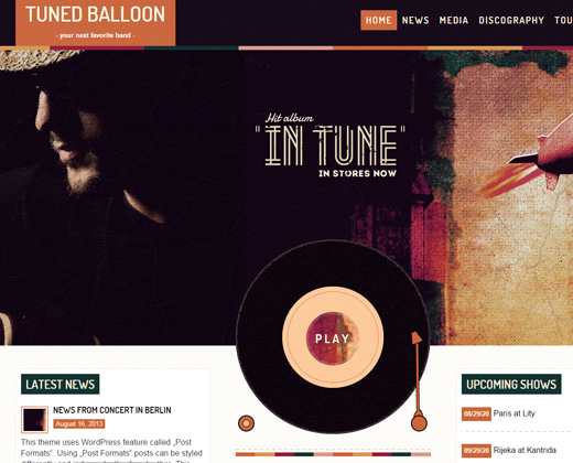 tuned balloon music colorful wordpress theme