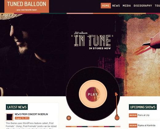 tuned balloon music colorful wordpress theme