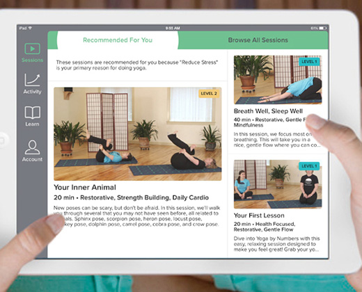 yoga by numbers app screen