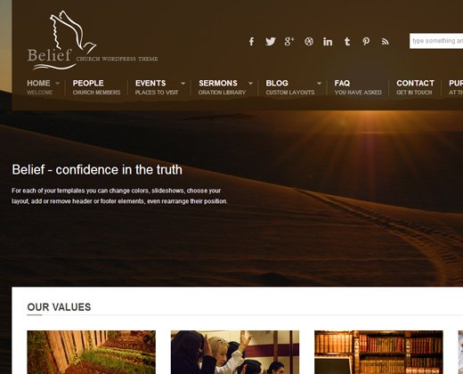 belief simple wordpress church theme