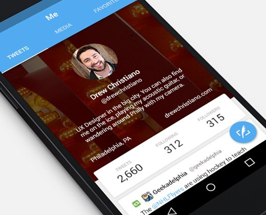 twitter for android flat material design