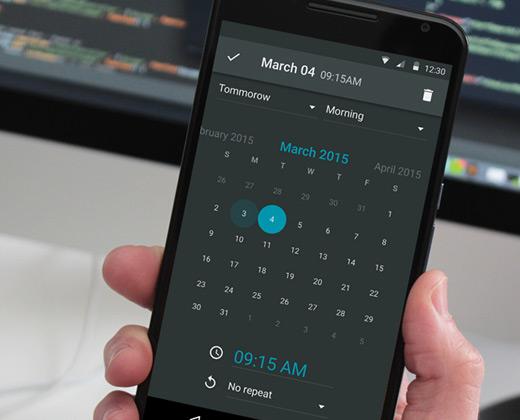 dark calendar android material ui