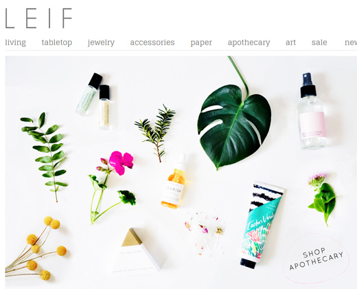 leif shop website clean homepage layout