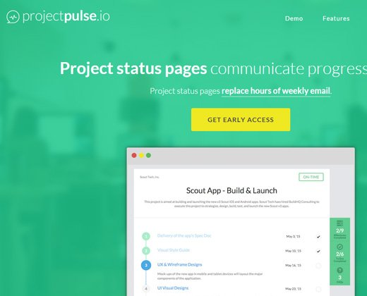 project pulse green homepage layout