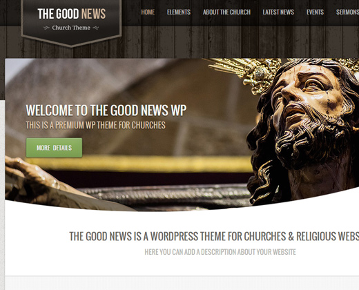 good news dark header premium wordpress church theme