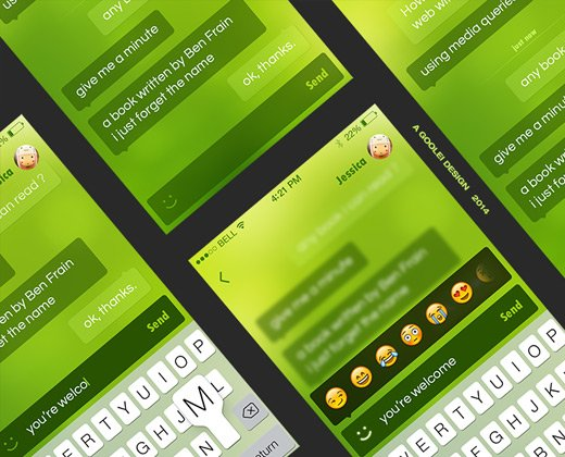 green ios im chat interface design