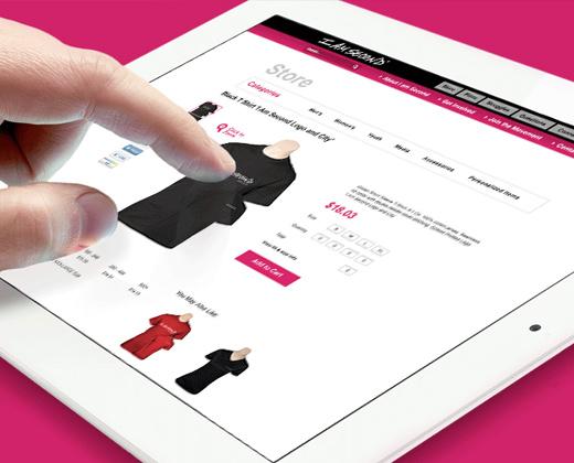 white tablet store ui design