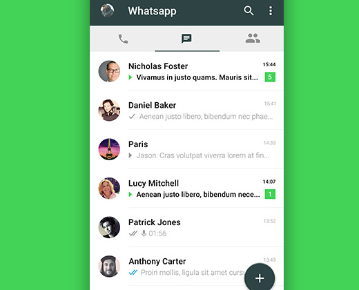 material design ui whatsapp