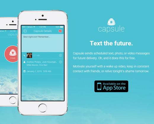 capsule iphone app landing page