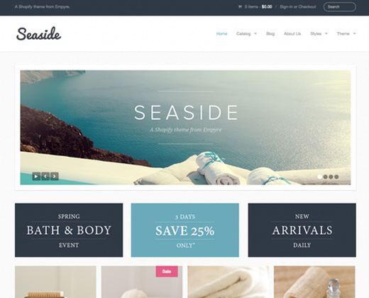 providence seaside shopping cart shopify theme