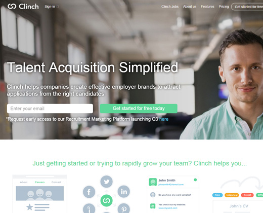 clinch talent acquisition startup website