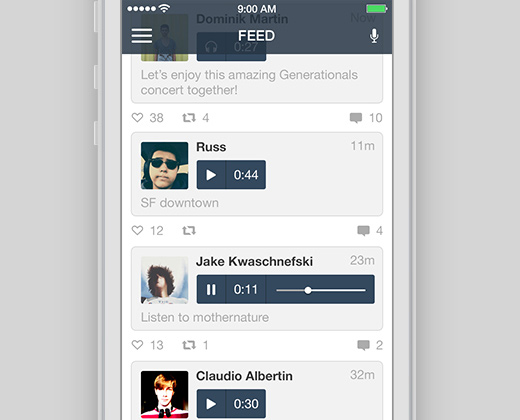instaradio feed flat iphone app ui