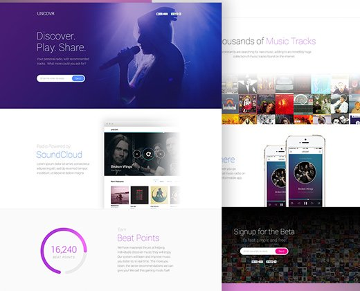 uncovr music landing page design