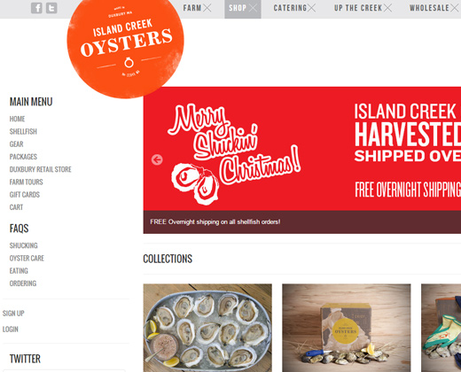 island creek oysters website homepage design shopify